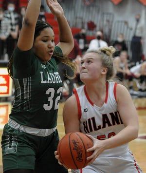 Hiland's Zoe Miller works in the post in a regular-season win over Laurel.