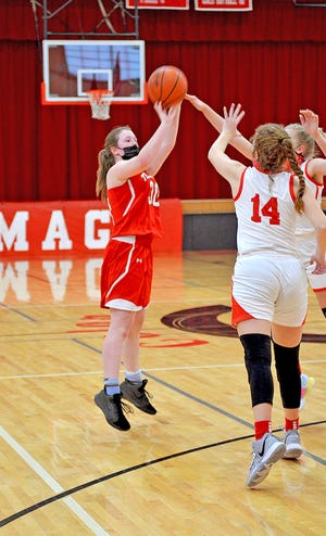 Tekonsha 8th grader Reagan Henry, playing her first game at the varsity level, scored all three points for the Lady Indians Wednesday.