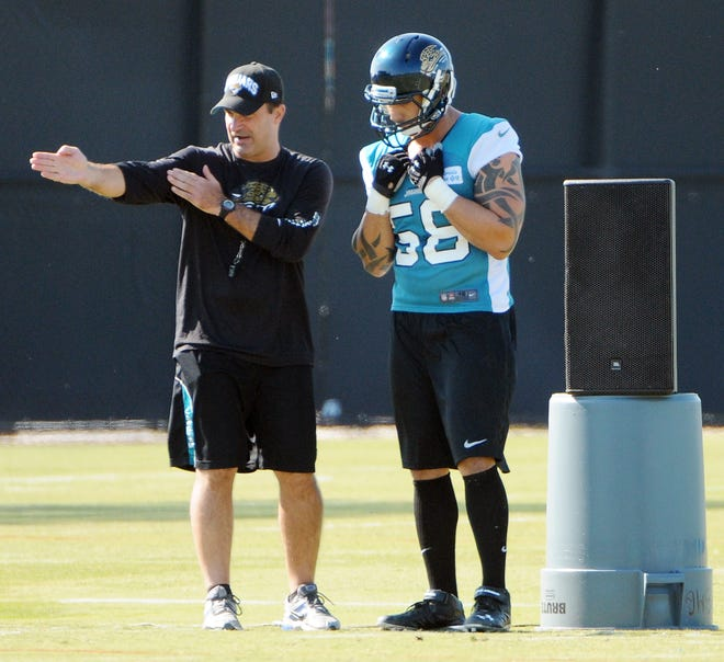 Jaguars' defensive coordinator Joe Cullen (L), seen here in a 2012 Jaguars' practice giving instructions to Jason Babin, is going to need the front-office to provide him with better players if he's going to turn the defense into a strength again.