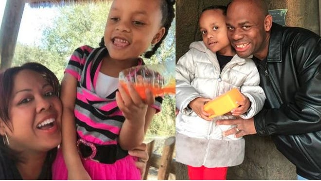 Photos on the 2018 GoFundMe page to raise funds for 7-year-old Omera Anna Akinloba's funeral show her with her parents, Anna and  Aremo Akinloba.