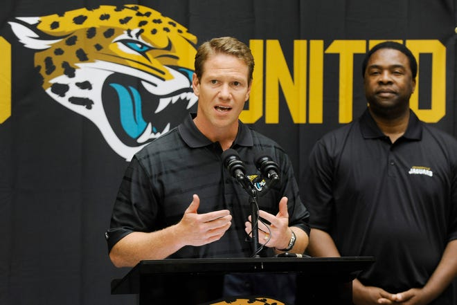 In September 2013, JAX Chamber President Daniel Davis addresses the audience with then-Jacksonville Mayor Alvin Brown as the city and chamber announced efforts to create more fan engagement activities for the season.