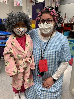 Fred Douglass ECC students aged dramatically while enjoying their 100th day of school with teachers.