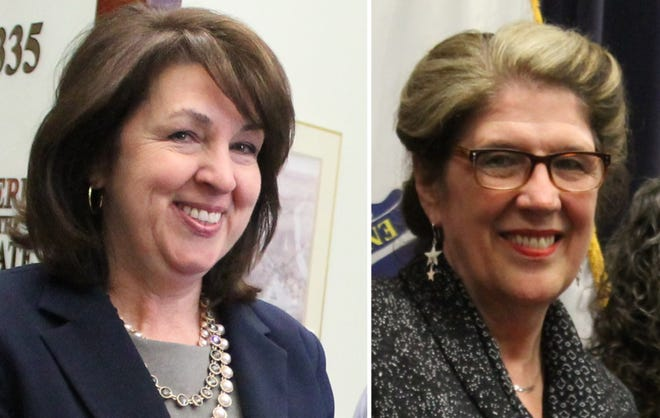 Speaker Ron Mariano has named Rep. Claire Cronin (left) as his successor as majority leader, and Rep. Kate Hogan (right) as the new speaker pro tempore.