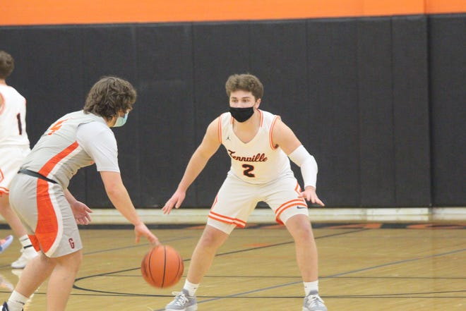 Fennville sophomore Ben Peterson sets up on defense in the win over Gobles on Wednesday, Feb 10