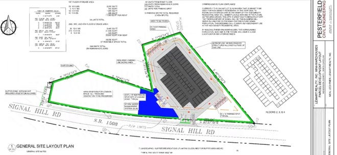 A site plan shows a four-story, 310-unit storage facility proposed off Signal Hill Road.