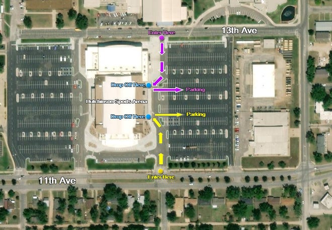 Map showing drop off lanes for COVID-19 vaccination clinic at Hutchinson Sports Arena