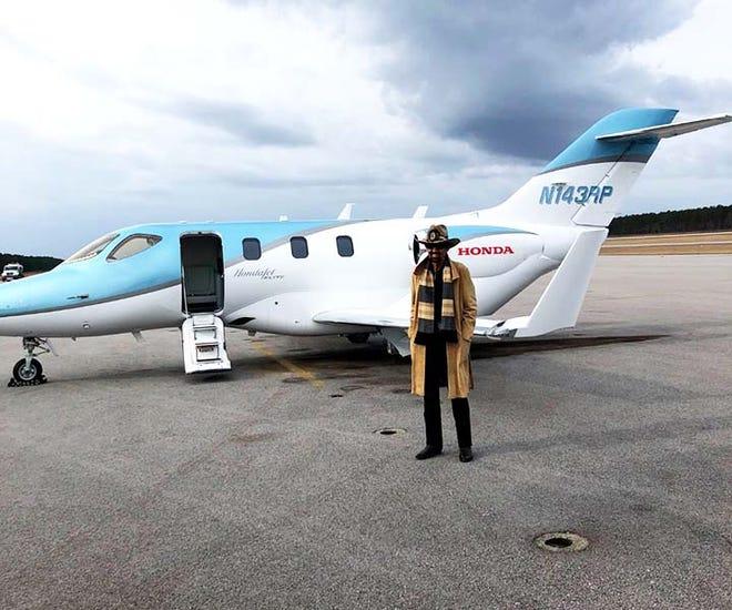 "NASCAR Hall of Famer, aka ""The King,"" Richard Petty, and his Honda Jet recently flew into Albert J. Ellis Airport."