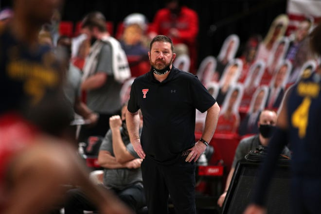 Feb 9, 2021; Lubbock, Texas, USA;  Texas Tech Red Raiders head coach Chris Beard during the game against the West Virginia Mountaineers at United Supermarkets Arena.
