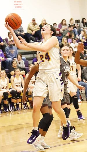 South Beauregard's Raelyn Gunter (24) scored eight points in the Lady K's win Tuesday over Jennings.