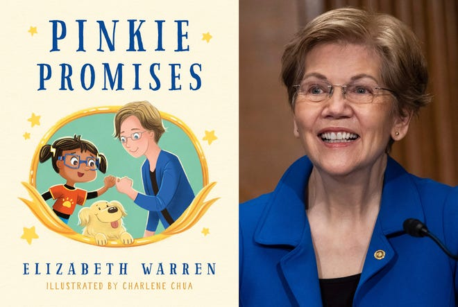 """This combination photo shows cover art for """"Pinkie Promises,"""" by U.S. Sen. Elizabeth Warren and illustrations by Charlene Chua, left, and Warren during a Senate Health, Education, Labor and Pensions Committee hearing on Capitol Hill in Washington on Feb. 4, 2021."""