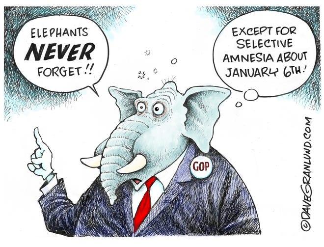 Dave Granlund cartoon on GOP's selective amnesia regarding Jan. 6