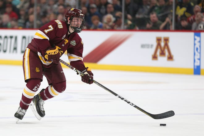Scott Perunovich won the Hobey Baker Award last season as a top defenseman with Minnesota-Duluth. The St. Louis Blues prospect is expected to be out the rest of the season because of a shoulder injury.