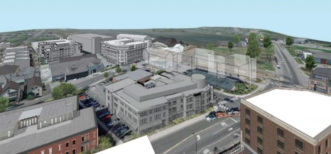 This rendering shows a four-building development Deer Street Associates has submitted in the past for its project around the Foundry Place Garage in Portsmouth. The project remains on hold as a dispute over a parking agreement between DSA and the city remains unresolved.