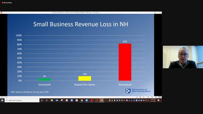 Andrew Smith, director of the University of New Hampshire Survey Center, talks about economic trends during an online forum Feb. 11 put on by the Exeter Area Chamber of Commerce.