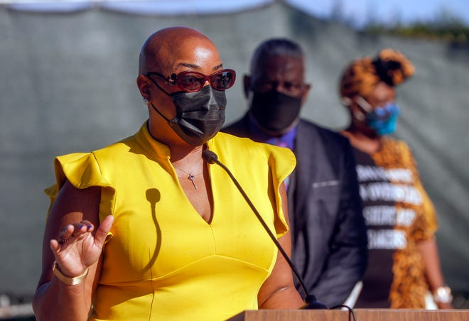 Ann Marie Sorrell, president & CEO of The Mosaic Group, makes remarks Thursday during a news conference held by the South Florida Black Prosperity Alliance at the Martin Luther King, Jr. Landmark Memorial in West Palm Beach.