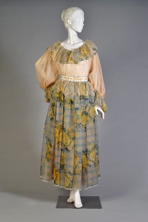"""An Oscar de la Renta ensemble inspired by folk costume is included in the Kent State University Museum's new exhibition called """"Stitched: Regional Dress Across Europe."""""""