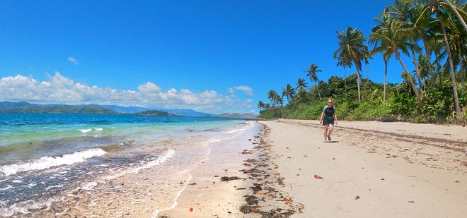 The beach as seen on the island of the abandoned Kon Tiki Resort.