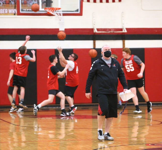 Head coach Terry Sites of Tusky Valley leads practice at the school Thursday, Feb. 11, 2021.