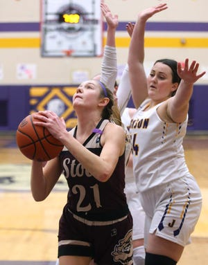 Lilee Carlson (21) of Stow takes a shot after getting past Makena Daggett (right) of Jackson during their game at Jackson on Wednesday, Feb. 10, 2021.