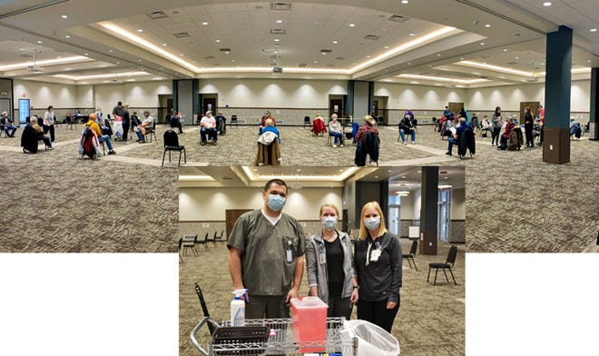 Sleepy Eye MedicalCenter administered first does of COVID-19 vaccine to 300 patients on Saturday, Feb. 6 at the Event Center. Pictured are some of SEMC's vaccinators at Saturday's event, from left: James Mangen, RN; Lacey Groebner, RN; and Danielle Bruns, RN.