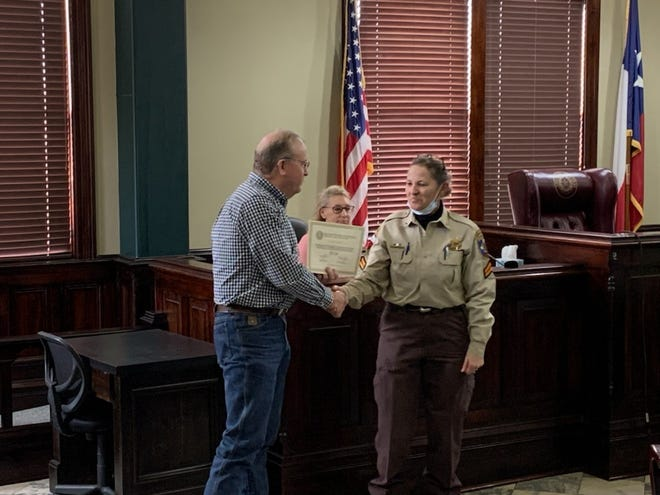The Erath County Commissioners Court recently recognized Cpl. Lydia Gray for five years of service to the citizens of Erath County. Gray is assigned to the Corrections division of the Sheriff's Office.