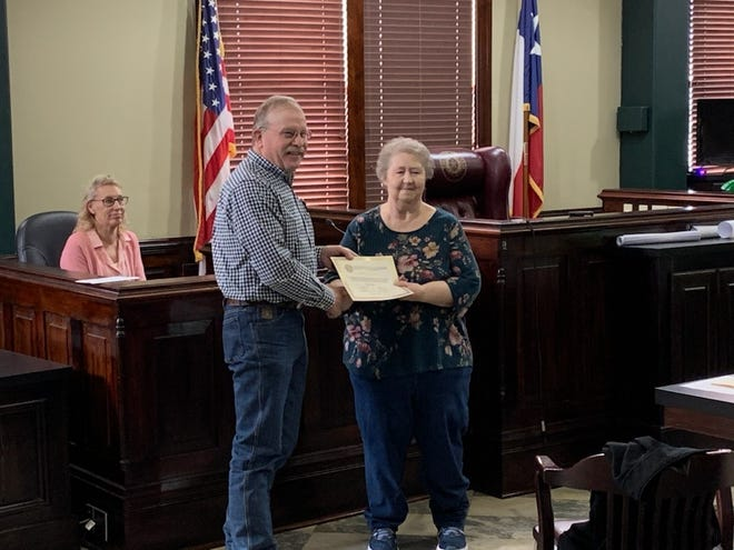 The Erath County Commissioners Court recently recognized Tele-Communicator Doris McFarlin for 10 years of service to the citizens of Erath County.