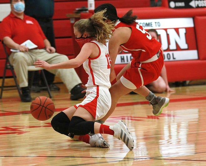 Brenna Fisher of Colon dives to corral a loose ball against Tekonsha on Wednesday.