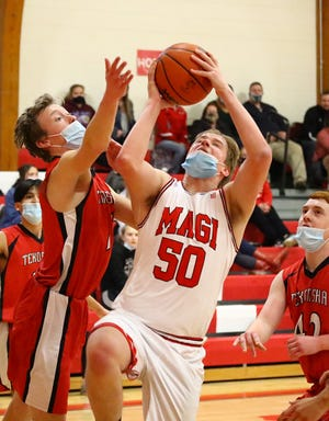 Grayson Riethmiller of Colon heads in for a layup against Tekonsha on Wednesday evening.