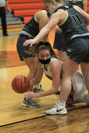 Madison Ater of Sturgis fires off a pass to a teammate after gathering a loose ball on Wednesday.