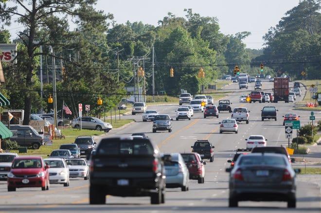 Heavy traffic runs through Hampstead on U.S. 17.