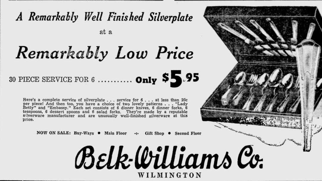 A Belk-Williams advertisement in the StarNews from 1949.