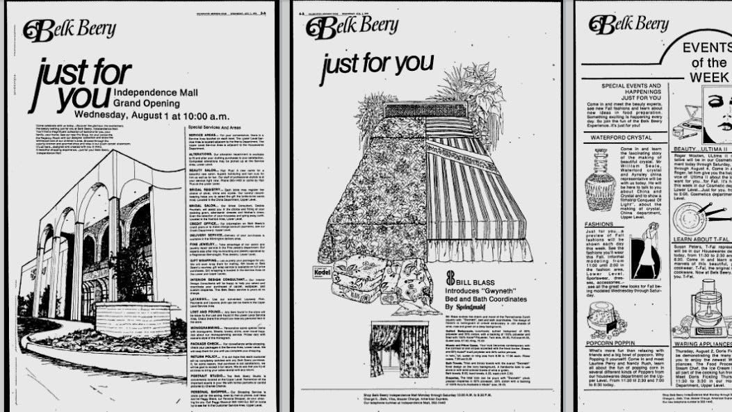 Belk took out more than six pages in the Aug. 1, 1979 StarNews to promote its grand opening at the new Independence Mall.