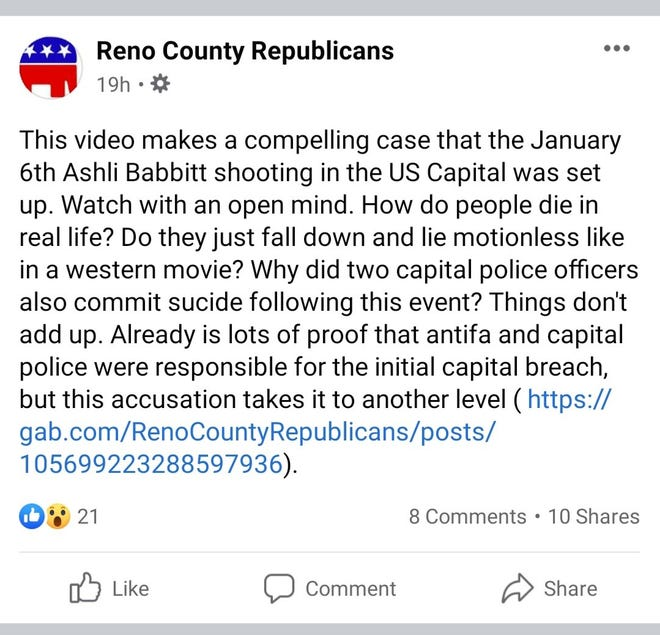 A now-deleted post from an account tied to the Reno County Republican Party insinuates that the death of individuals during the Jan. 6 riots at the U.S. Capitol were fake.