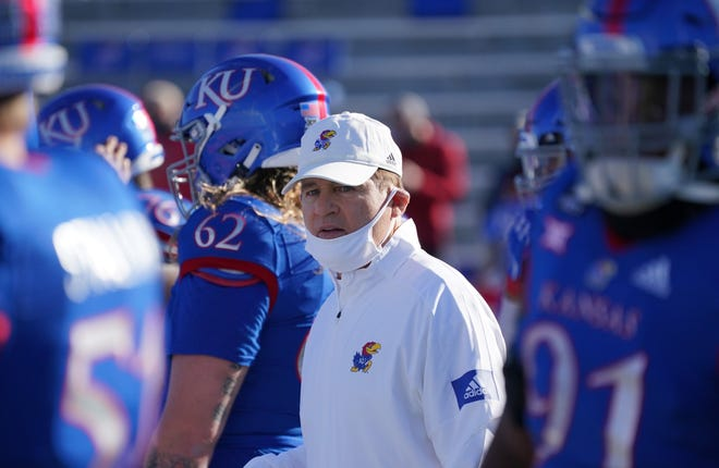 Kansas football coach Les Miles and the Jayhawks will look to break a 13-game losing streak when they play host to South Dakota on Sept. 4 in Lawrence. KU's upcoming 2021 schedule was finalized Thursday.