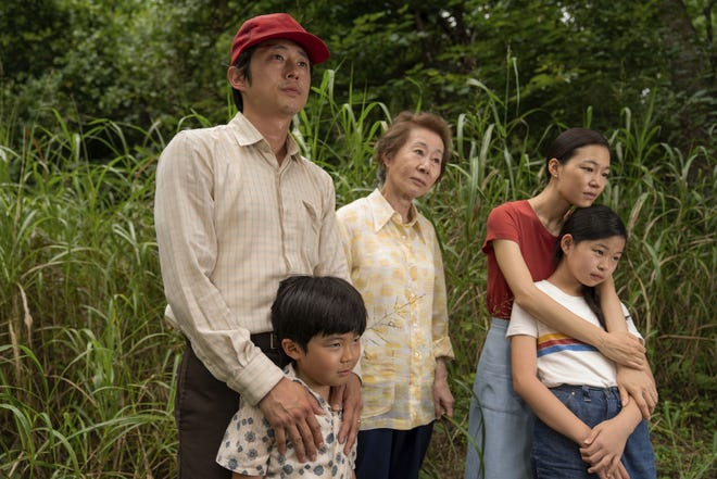 "From left, Steven Yeun, Alan S. Kim, Yuh-Jung Youn, Yeri Han, and Noel Cho appear in  ""Minari."""