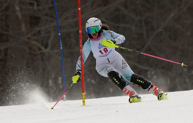 Nashoba's Katie Bateman competes in the slalom event in the state Alpine skiing championship at Wachusett Mountain in 2019.