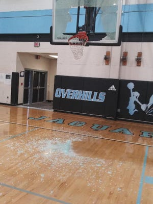 The shattered backboard, the result of a Damien Robinson slam, at Overhills High School in Spring Lake in January, 2021.