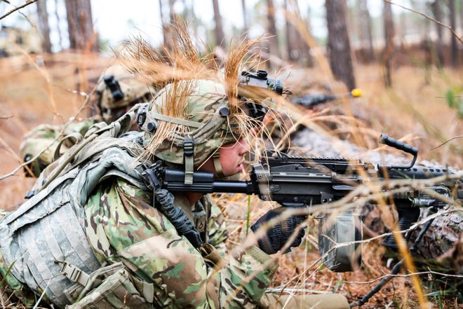 Paratroopers in the 3rd Brigade Combat Team, 82nd Airborne Division and 20th Engineer Brigade conduct react to contact Feb. 8 during a rotation at the Joint Readiness Training Center. The rotation serves to enhance the brigade and their supporting unit's deployment readiness.
