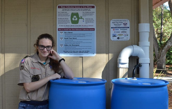 Rebecca Devoid, 16, designed and built a 780-gallon rainwater collection system atErna Nixon Park in West Melbourne for her Eagle Scout project.