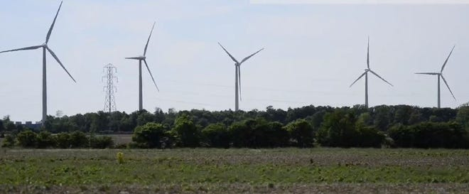 A row of wind turbines near Findlay.