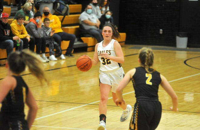 Colonel Crawford's Kaylyn Risner brings the ball up court.