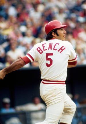 June 1974; Cincinnati, OH, USA; FILE PHOTO; Cincinnati Reds catcher Johnny Bench (5) in action during the 1974 season at Riverfront Stadium.