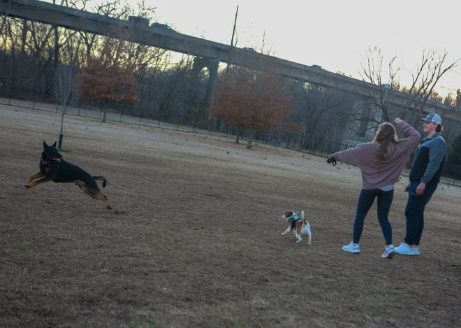 Kelsey (left) and Chance play with their dogs during the final minutes of sun on a chilly February evening at Liberty Park.