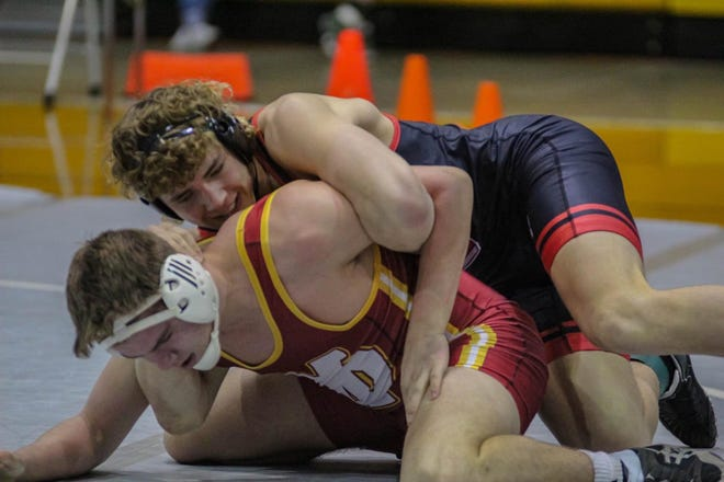 North Posey's Wyatt Willman (top) has 28 pins in 28 matches entering the Jasper Semistate.