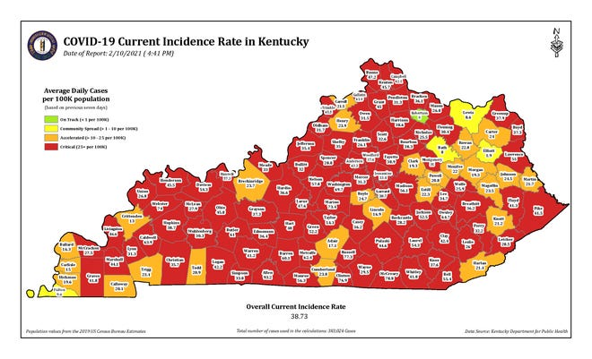 """This color-coded map from the Kentucky Department for Public Health shows the incidence rate in each Kentucky County. Henderson, Union and Webster counties continue to be in the """"red"""" or critical level."""