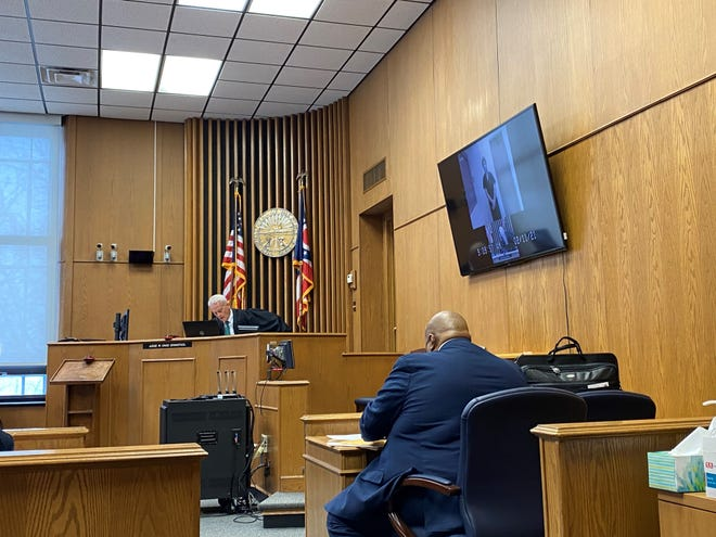 Cody Armentrout appears via video conference for a change of plea and sentencing hearing in Licking County Common Pleas Court on Thursday, Feb. 11, 2021.