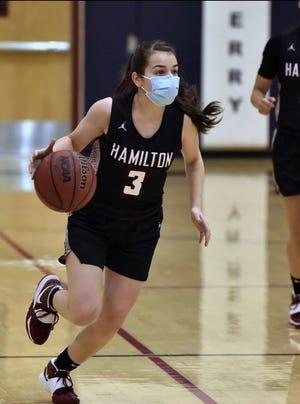 Hamilton girls basketball guard Graciela Roybal dribbles during a game.