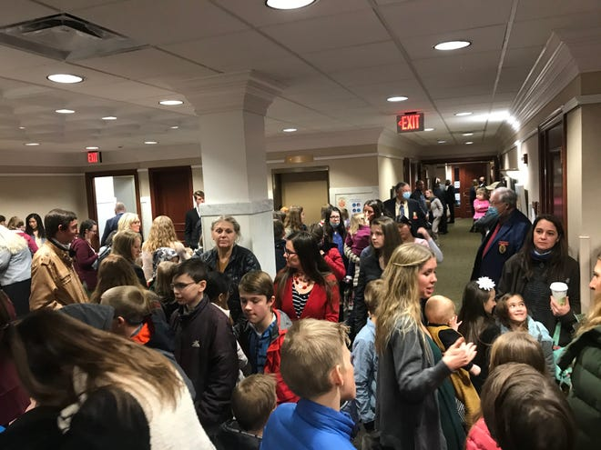 Attendees of Tuesday's Senate Education Committee spilled out into the lobby as dozens testified in support and opposition to Senate Bill 177.