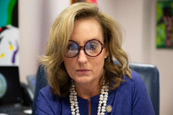 Rep. Allison Tant sits in on a virtual pre-committee meeting for the Agriculture & Natural Resources Appropriations Subcommittee she serves on in her office Wednesday, Feb. 10, 2021.