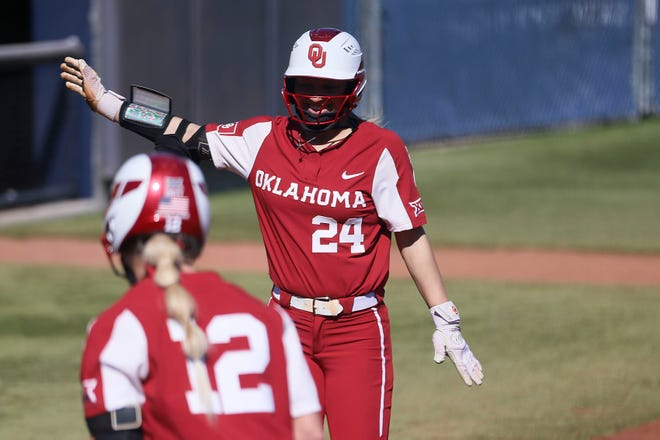Jayda Coleman (24) and the 34-1 Sooners have run-ruled their opponents in 26 games this season.